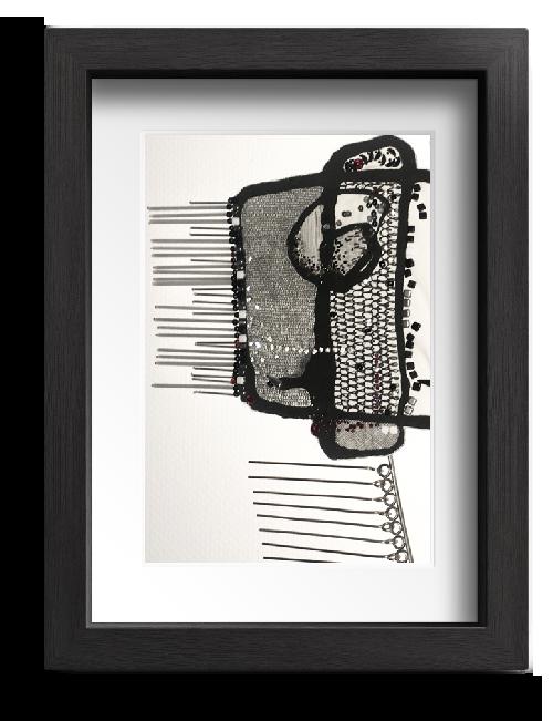 Fait à six mains. Encre peint sur textile, brodé de perles de verre, de métal et de cristal et monté sur structure de métal